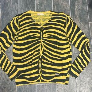 Michael Kors Yellow & Black Zebra Stripe Sweater